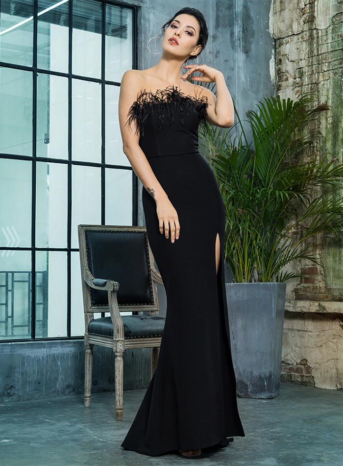 Black Strapless Cut Out Feather Long Dress 9