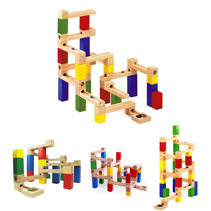 Montagnes russes modèle en bois blocs de construction rouleau Set roulement balle Puzzles en bois piste amis début jouets éducatifs pour les enfants