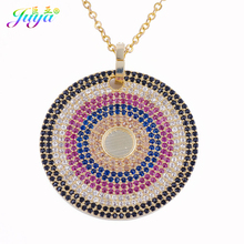 Micro Pave Colorful Zircon 32mm Round European Style Copper Greek Eye Pendant Chocker Necklaces For Women Wedding Party Jewelry