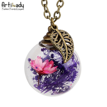 Artilady vintage antique gold plated drift bottle pendant necklace glass bottle necklace for women jewelry party gift
