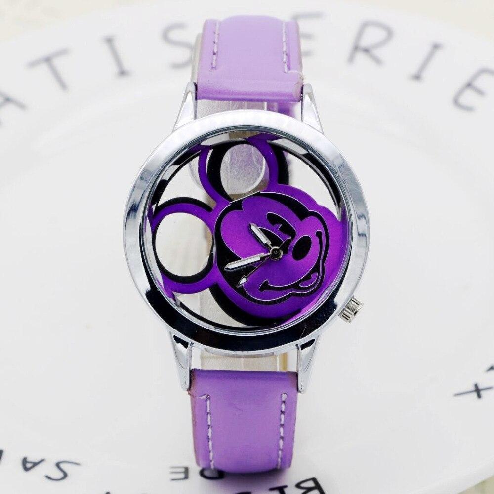 2019 Fashion Mickey Women Watches Quartz Casual Transparent Hollow Dial Leather Wristwatches Women Dress Watch