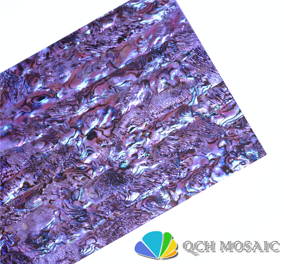 Dyed purple New Zealand paua abalone shell laminate sheet for musical instrument and wood inlay
