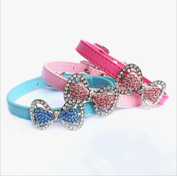 Promotion Dog Collar Bling Crystal Bow Leather Pet Collar Puppy Choker Necklace XS S Rhinestone Cat Dog Collars Free Shipping