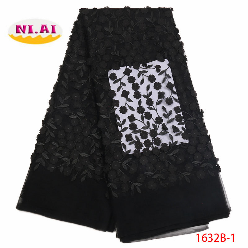 Latest African Laces 2018 Black Lace Fabric Nigerian Lace Fabrics High Quality French 3D Tulle Lace