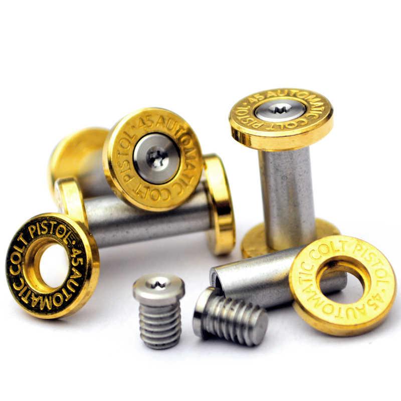 Parafusos de fogo de bronze inferior alça rebites parafusos de aço inoxidável fechaduras faca reta fixadores ferramenta diy 2pcs