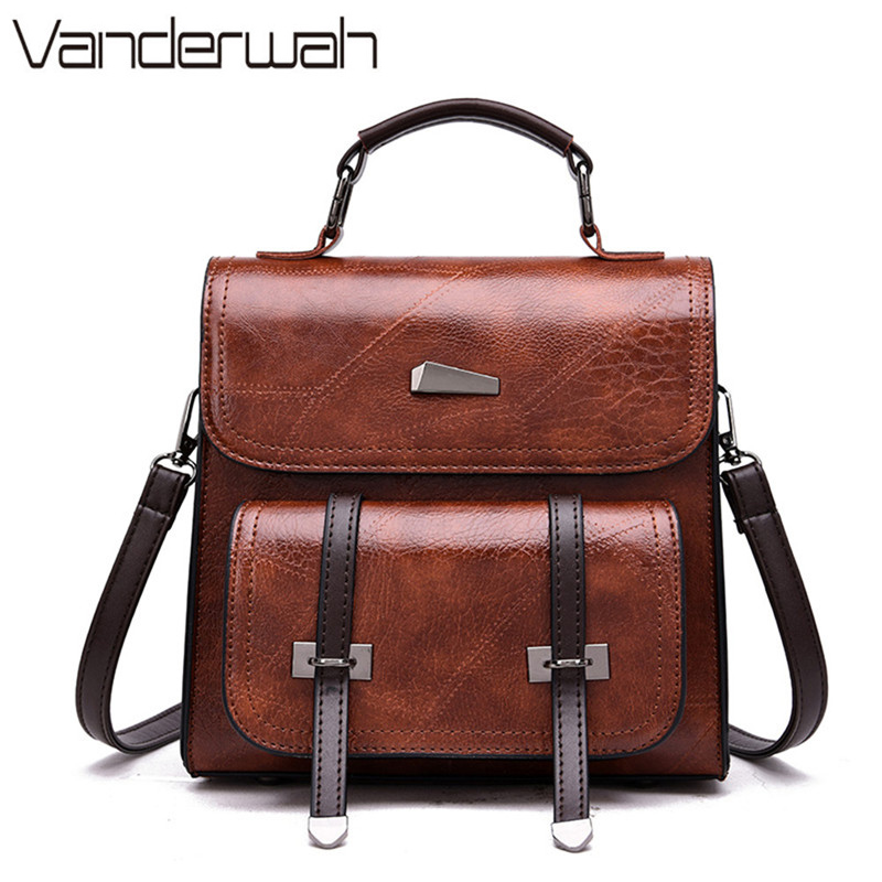 3 In 1 Vintage Leather Mini Backpack Women Retro College Style Small Backpack Designer School Bags For Teenage Girls Sac A Dos