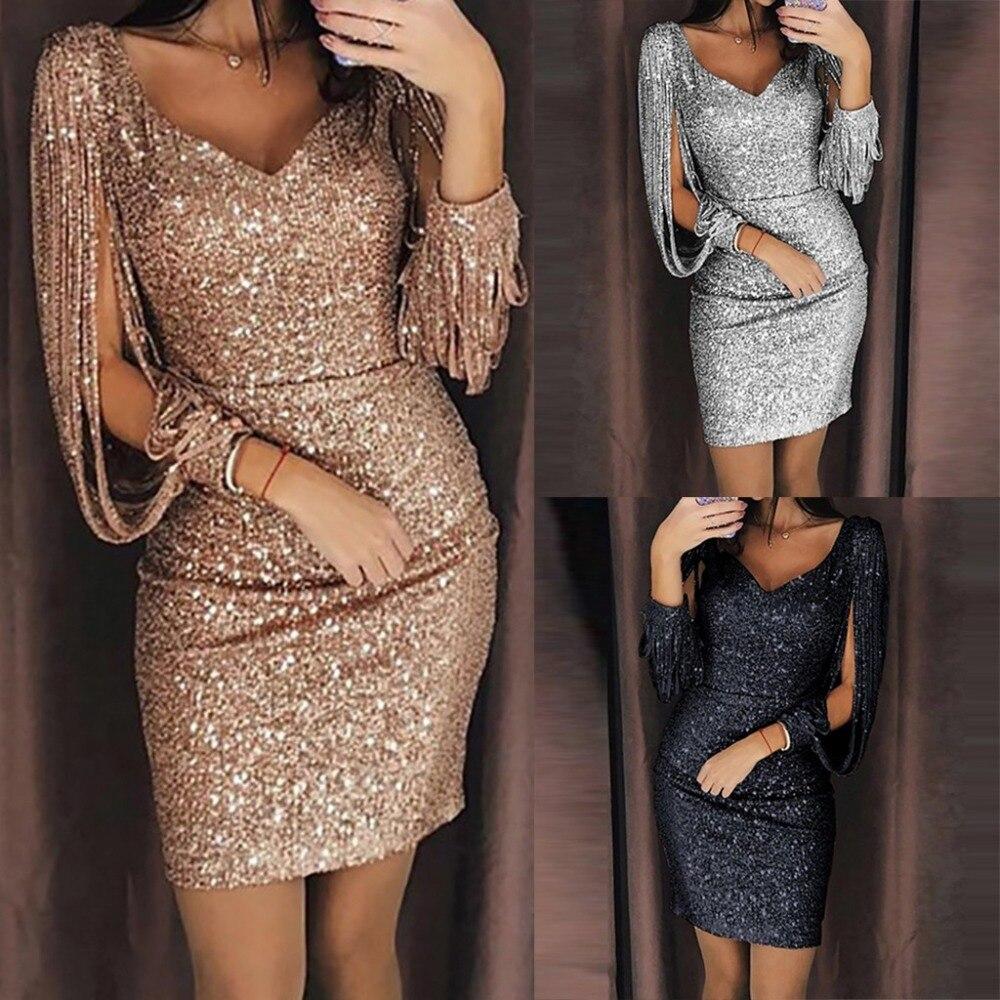 Straightforward 2019 New Fashion Sexy Women V Ncek Solid Sequined Glitter Stitching Shining Club Sheath Long Sleeved Mini Dress For Female