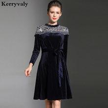 Navy Embroidery Velvet Dress Winter Dresses Women 2018 Kleider Damen  ukraine Long Sleeve Gatsby Dress Kerst Jurk Robe HiverK7316 f4060e082