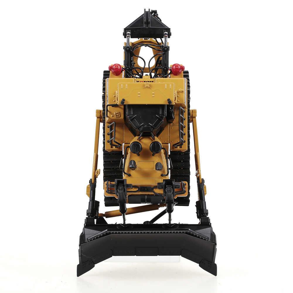 HUINA 1700 1:50 Die-Cast Alloy Heavy Bulldozer วิศวกรรมรถบรรทุกแบบคงที่ Caterpillar ล้อ Bulldozer เด็กของเล่นเพื่อการศึกษา
