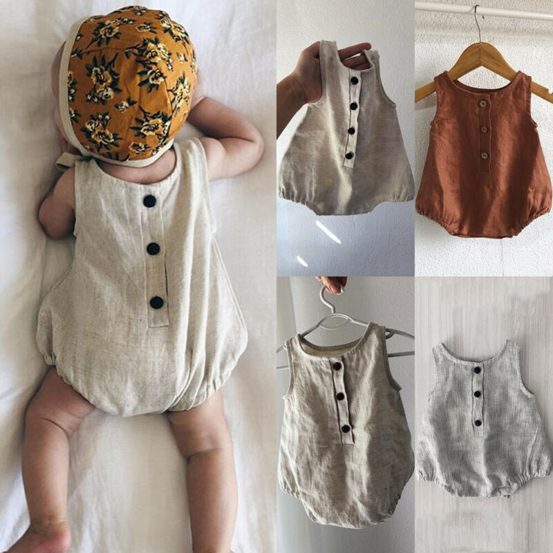 2019 New Summer Baby Girls Boys Bodysuit Cotton Linen Sleeveless Body For Baby Jumpsuit Bodysuit