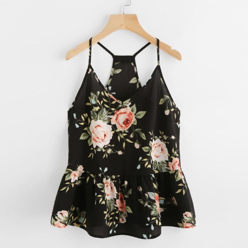 Sling Rose Cluster Print Peplum Camisole Racerback Summer Cami   Tops   Female Ruffle   Tank     Top   V Neck Strap Ladies Camisole#10