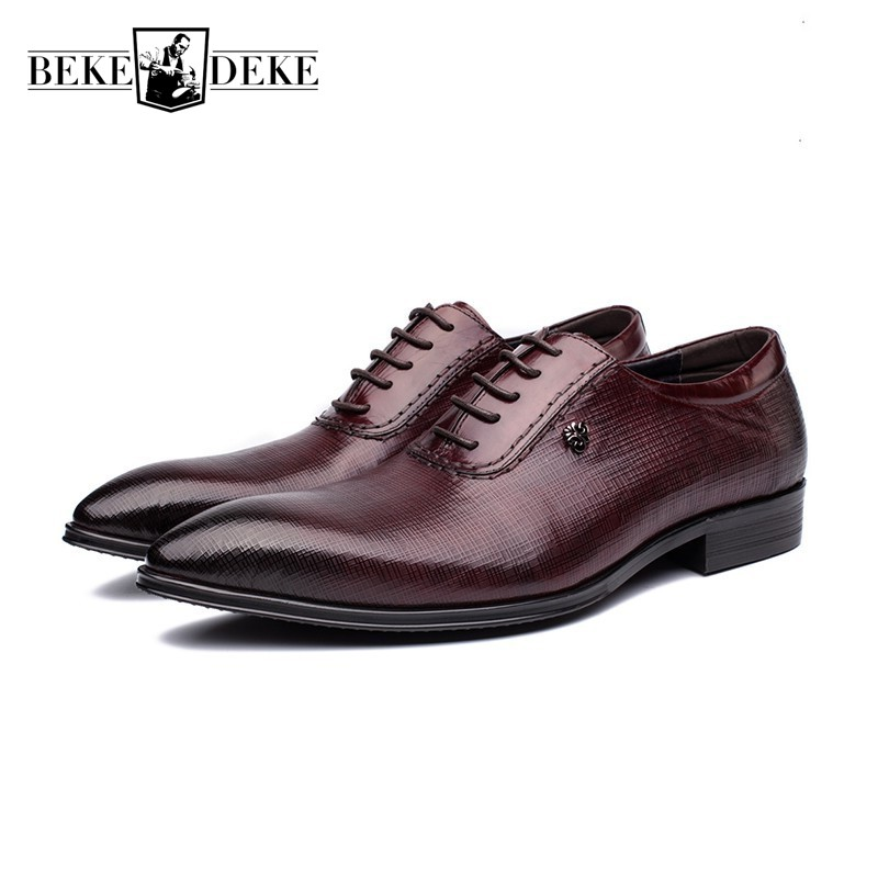Top Brand Genuine Leather Mens Dress Shoes Male Lace Up British Pointed Toe Retro Footwear Business Formal Shoe Zapatos Hombre british fashion men business office formal dress breathable genuine leather shoes lace up oxford shoe pointed toe teenage sapato