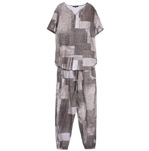 2018 nuevo estilo de pelo de estilista T shirt traje de verano de material de cáñamo de manga corta 9 minutos pantalones traje de marea L 4XL - 5