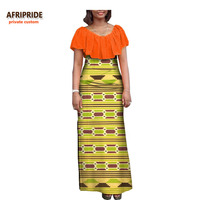 17 Autumn Women Dress African Clothing AFRIPRIDE Short Sleeve Ankle Length Women Casual Straight Dress 100