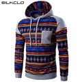 Winter Jacket 2017 New Fashion Coat National Wind Mosaic Design Diamond Print Raglan Sleeves Men Casual Hooded Sweatshirts