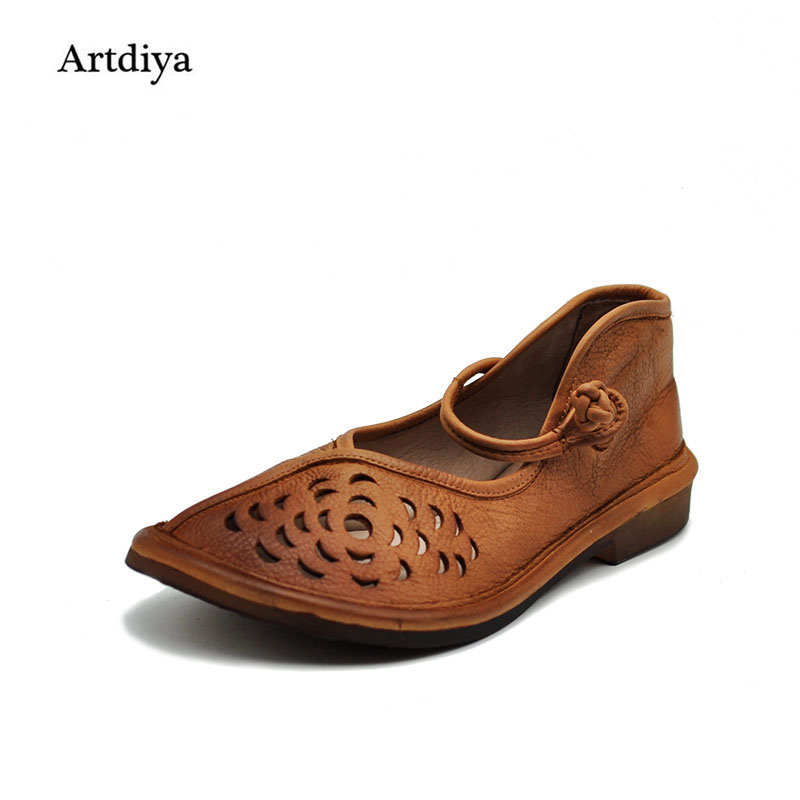 Artdiya Genuine leather handmade women's shoes vintage cutout  lyrate cute shoes flat heels soft and comfortable sandals FL1318A handmade genuine leather women s shoes vintage national trend cutout shoes flat shoes comfortable women s sandals free shipping page 1