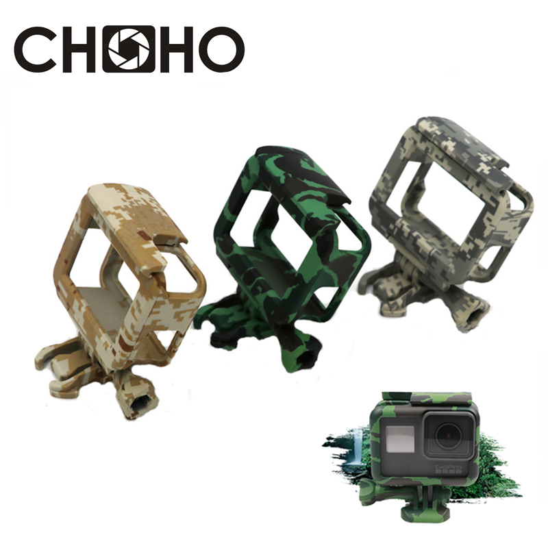 Protective Frame Case Shell Protector Housing Army Green + Lone Screw + Base Mount For GoPro Hero 5 6 7 Black New Accessories(China)