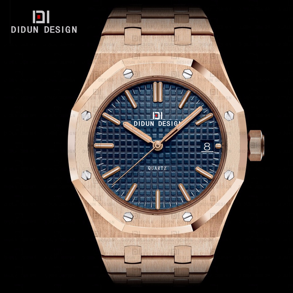 ФОТО DIDUN Steel mens watches top brand luxury Watches men Quartz Brand Watches Men Business Watch Luminous Wristwatches Water resist
