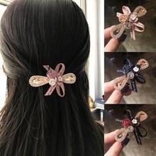 Fashion Women Hair Clip Shiny Crystal Rhinestones Boutique Girls Accessories Flower Bow Ribbon Hairpins