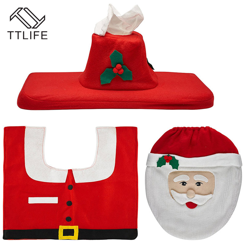 TTLIFE 1 Sets Christmas Decorations Xmas Toilet Seat Washroom Set Santa Decorative Covers Lids And Rug In From Home