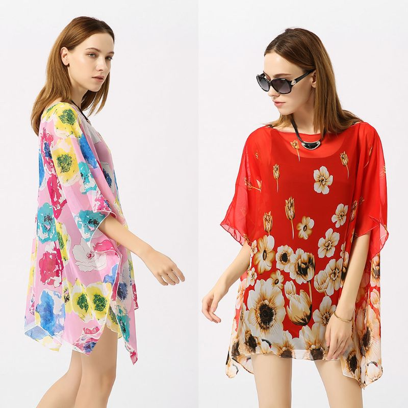 Women's Clothing Womens Travel Outdoor Sunproof Bikini Cover Up Vintage Colored Large Floral Printed Pullover Kimono Tops Semi-sheer Side Split C
