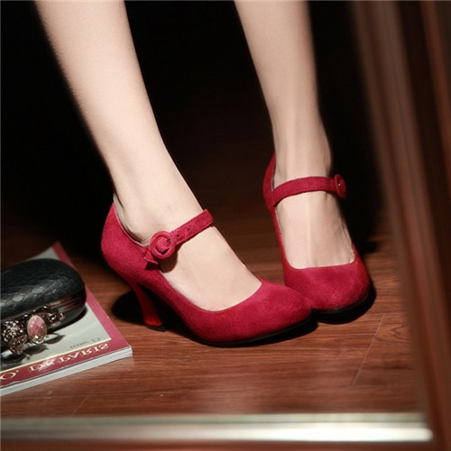 1d25cb4ec6f6 2019 new Elegant Womens Mary Janes Kitten Heels Faux Suede Nubuck Leather  Strappy Ladies High Heels Shoes Pumps Plus Size-in Women s Pumps from Shoes  on ...
