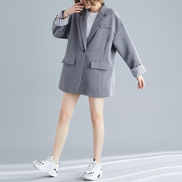 2019 Oversize Striped Cuff Ruched Patchwork Women Blazer Jacket Ladies Casual Single Button Notched Pockets Blaser feminino