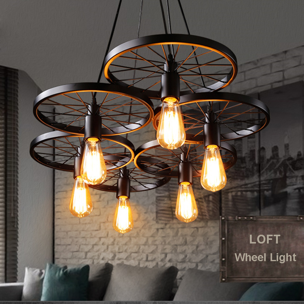 Russia Pendant Light Vintage Industrial Lamp Nordic Metal Wheel Lights Loft Dining Room Lighting for Chirstmas Wedding Decor|pendant lights|dining room lights|pendant light vintage - title=