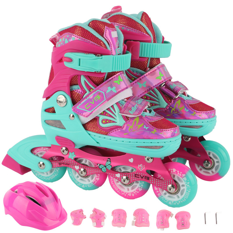 A Set Children Kids Inline Skate Roller Skating Shoes Helmet Knee Protector Gear Adjustable PU Flashing Wheels Patines Super new kids children professional inline skates skating shoes adjustable washable flash wheels sets helmet protector knee pads gear