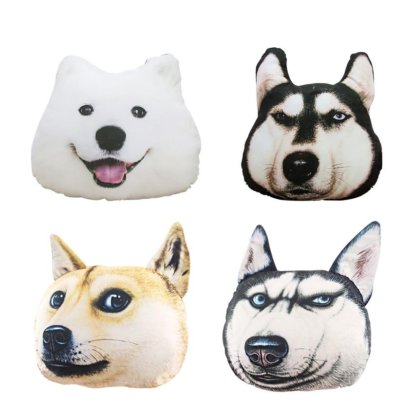 New Hot 3D 38cm*35cm  Samoyed Husky Dog Plush Toys Dolls Stuffed Animal Pillow Sofa Car Decorative Creative Birthday Gift beanie babies yo gabba gabba plex 35cm plush toys