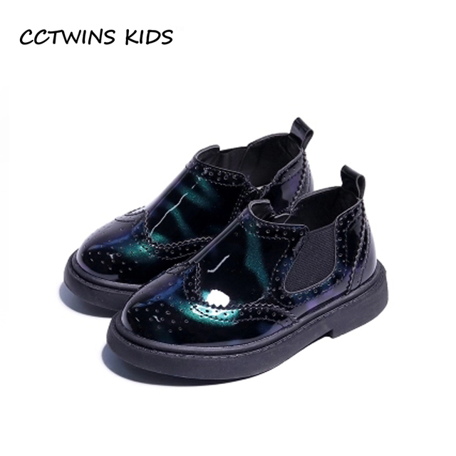 36945dd99fd CCTWINS KIDS 2018 Spring Children Pu Leather Shoe Baby Girl Fashion Chelsea  Boot Brand Black Booties