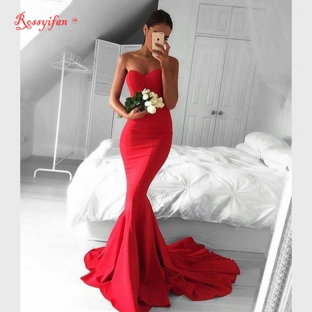 fa9dc5c046ab7 Cheap Long Fitted Mermaid Prom Dresses 2017 Elegant Sweetheart Sweep Train  Simple Red Party Dress For Graduation vestido longo