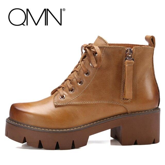 QMN женщины пестрые цвета натуральной кожи ботильоны Женщин Боевые Сапоги Ботинки Женщина Зимние Рабочие Ботинки Botas