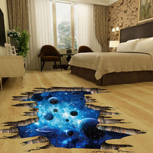 3d cosmic space galaxy children wall stickers for kids rooms nursery baby bedroom home decoration decals fooor murals(China)