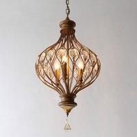 Retro Candle Dining Room Crystal Chandelier Vintage Art Designer Parlor Studio E14 Bulbs Hanging Light Free Shipping