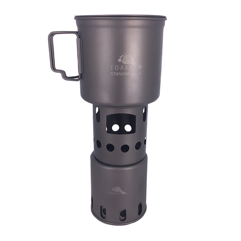 где купить TOAKS Titanium 1100ML Pot with Bail Handle and Wood Stove Combo Set Camping Cooking System Titanium Backpacking Stove STV-12 по лучшей цене