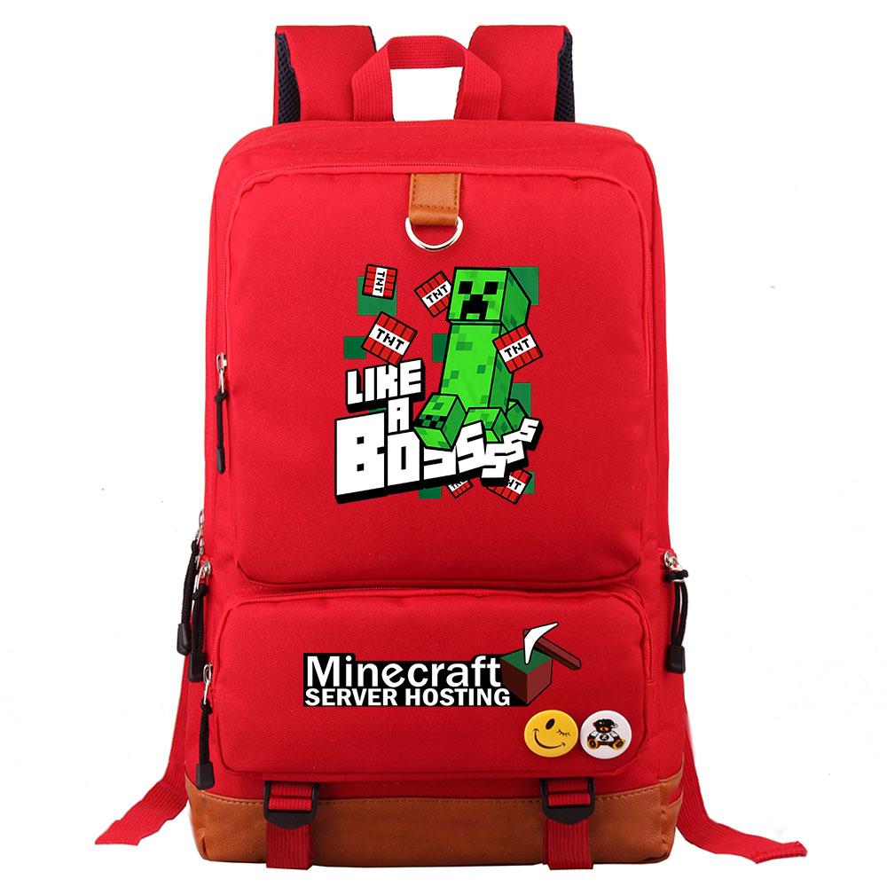 Plaid Games MineCraft TNT Like a Boss Boy Girl School bag Women Bagpack  Teenagers Patchwork Canvas Men Student Laptop Backpack