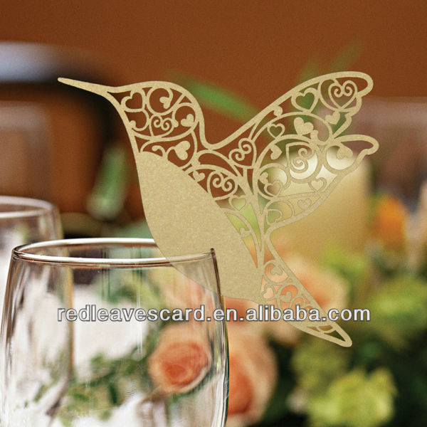 Pack Of 20 Laser Cut Black Hummingbird Name Place Cards For Wine Glass