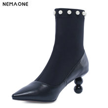NemaoNe Genuine Leather ankle sock boots Fashion pearl pointed toe high heels Womens shoes stretch boots women big size 33-43