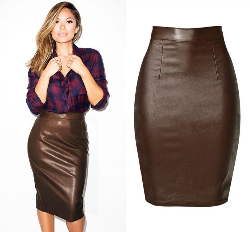 Newest High Waist Leather Skirts Women Summer Cotton Coated Denim Saia Feminina Fashion Push Up Knee-length Brown Faldas Mujer