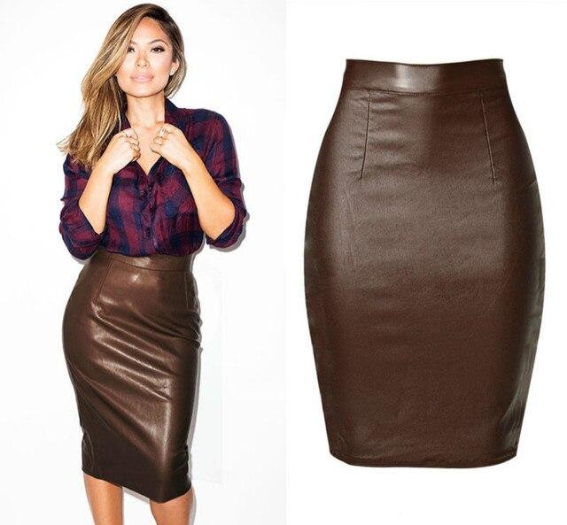 Newest High Waist Leather Skirts