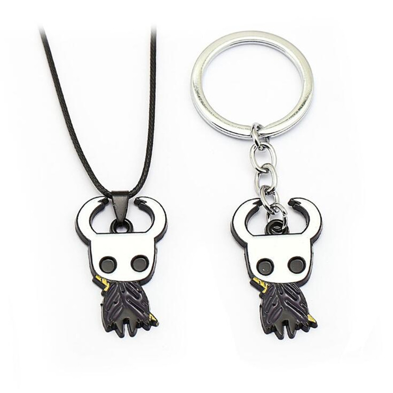 Hot Game Hollow Knight Necklace Cosplay Costumes Accessories Logo Badge Metal Key Chain Interesting Small Gift