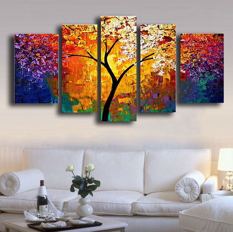 New 2016 200 hand painted golden autumn silver rich tree for Paintings for home