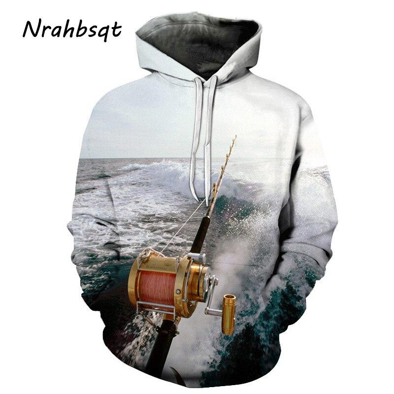 NRAHBSQT White Hoodie Fishing Rod Printing Loose Hooded Sweatshirt Fishing Clothes Men Long Sleeve Outdoor Sport Sweater FC015