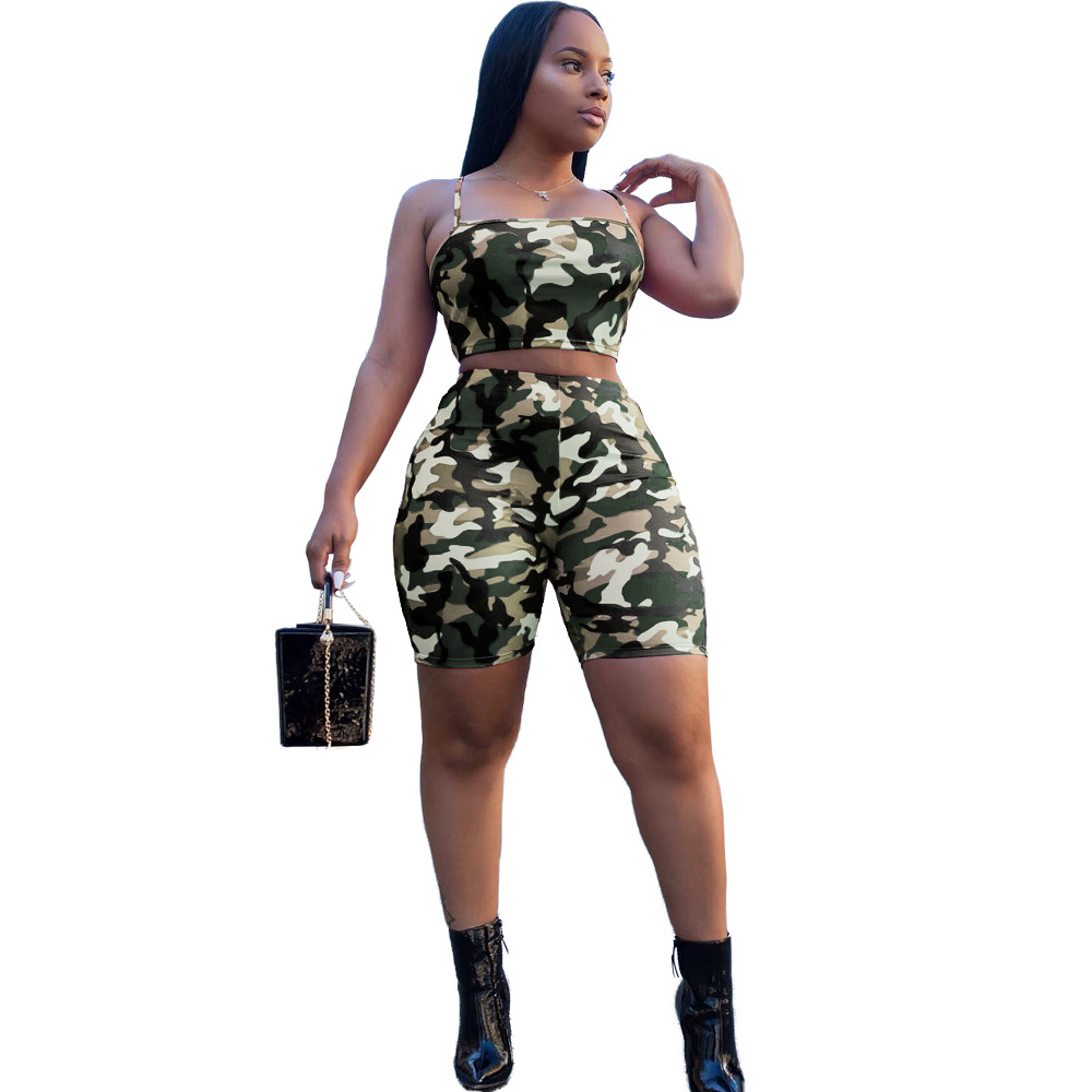 5 Color 2018 Summer New Style Women Sexy Stretch Fabric Camouflage 2 Piece Set Womens Spaghetti Strap Tops Elastic Shorts Outfit