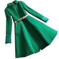 Novas Mulheres Da Moda Casacos de Inverno Para Baixo com Cinto de Ouro Quente Longo fino Saia Casaco E Jaqueta Senhoras Outwear Neve Verde Rosa Preto