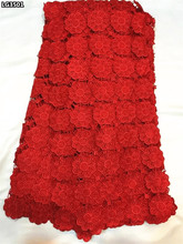Pure red African guipure lace fabric 2017 high quality Nigerian cord lace fabric 4 colors on sale 5 yards for lady dress LG35