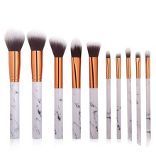 10Pcs Marble Patten Makeup Brush For Cosmetic Powder Foundation Eyeshadow Lip Make Up Brushes Set Beauty Tool 10pcs make up palette set eyeshadow lip gloss foundation powder blusher puff tool