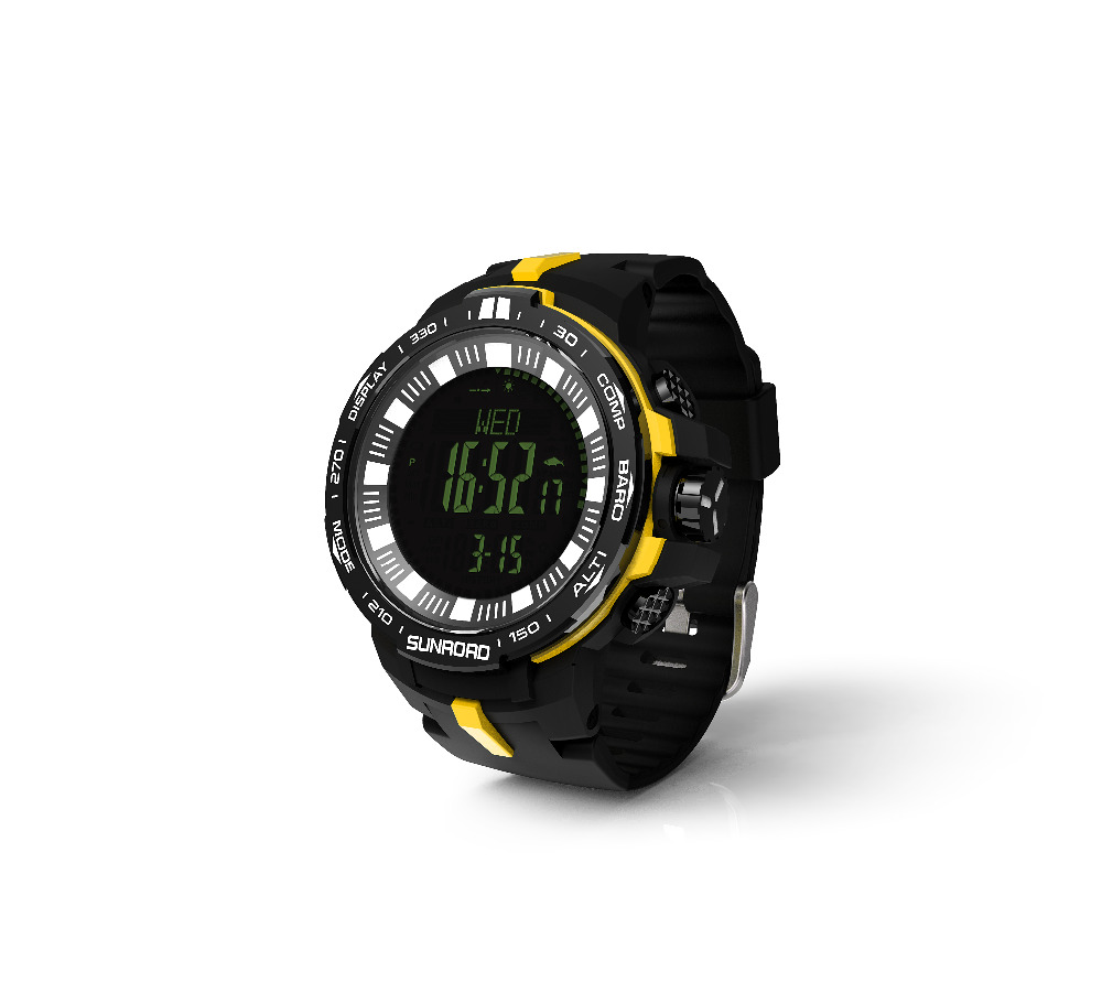 SUNROAD 2018 New Arrival Men Sports Watch FR861B-Outdoor Barometer Compass Altimeter Temperature Outerdoor Sports Watch Yellow sunroad 2018 new arrival outdoor men sports watch fr851 altimeter barometer compass pedometer sport men watch with nylon strap