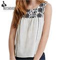 2016 Embroidery Vintage Floral  Sleeveless Round Neck Brand Name Casual Women Blouses Tops Shirts New
